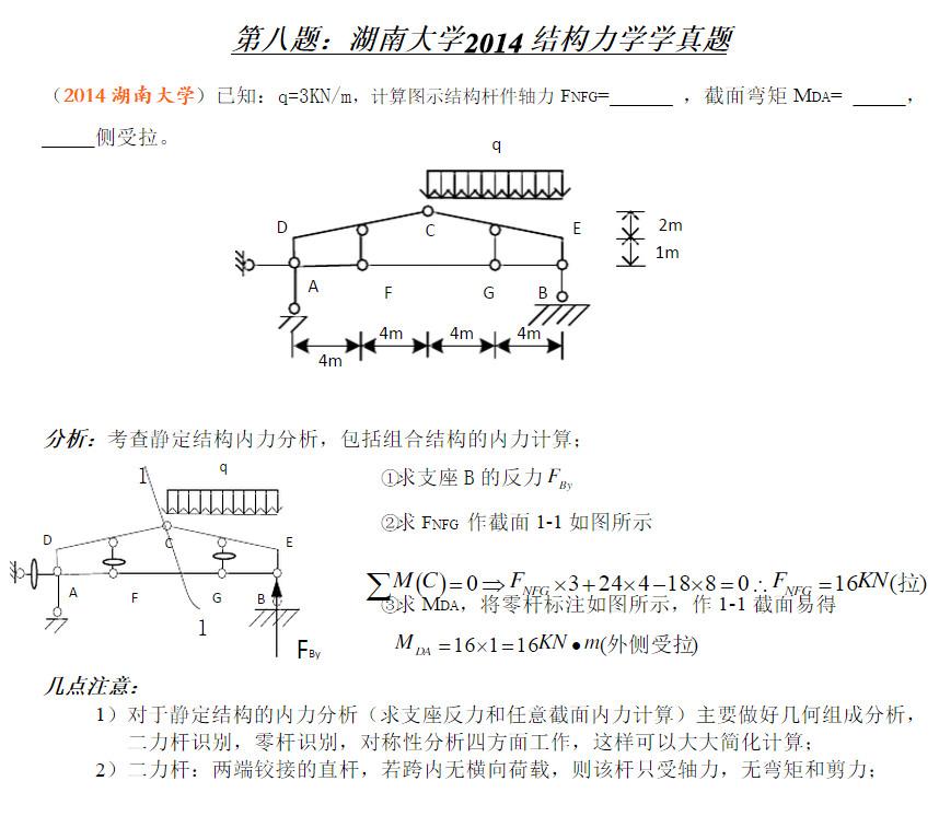湖南大学2014结构力学801考研真题与答案