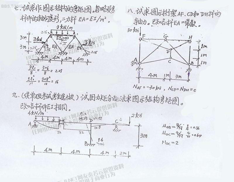 同济大学2001年考研专业课试卷结构力学